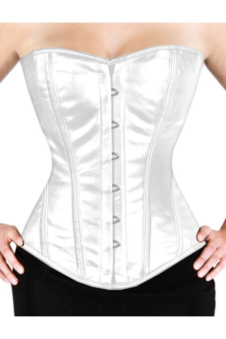 Overbust Corset White Faux Leather Gothic F8809-FB