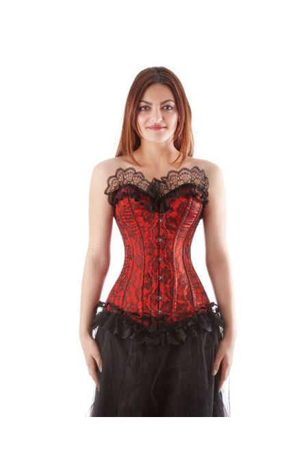 Overbust Corset Red Satin Bustier Netz Burlesque F11217-1 |ABCorsetry UK
