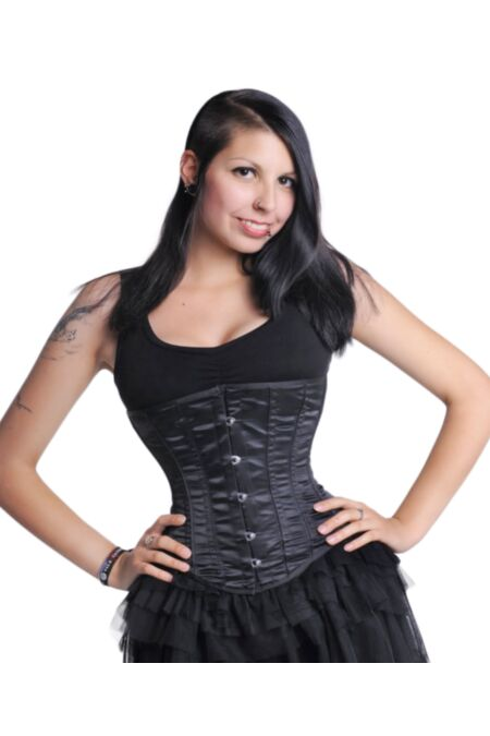 Underbust Corset Black Satin Bustier Gothic U8807-1 |ABCorsetry UK