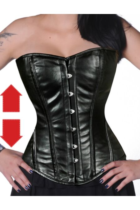 Overbust Corset Black Faux Leather Gothic EXTRA LONG F8809